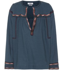 Etoile Isabel Marant Bilcky Embroidered Cotton Top Blue