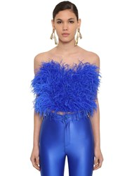 Attico Strapless Feather Embellished Top Blue
