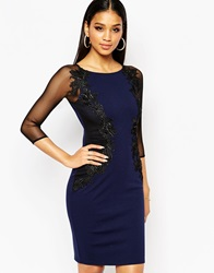 Lipsy Lace Applique Bodycon Dress With Sheer Sleeve Navy