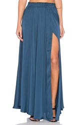 Loveshackfancy Fancy Slit Maxi Skirt Teal