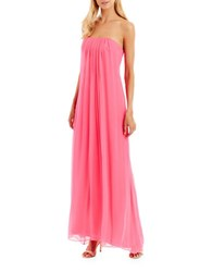 Nicole Miller New York Strapless Souffle Chiffon Gown Hot Pink
