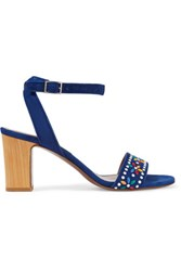Tabitha Simmons Gia Embellished Suede Sandals Royal Blue