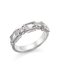 Judith Ripka Sterling Silver Narrow Estate 3 Baguette Band With White Topaz And White Sapphire White Silver
