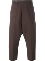Rick Owens Cropped Drop Crotch Trousers Brown