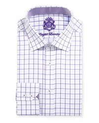 English Laundry Large Windowpane Check Dress Shirt Purple