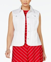Charter Club Plus Size Denim Vest Only At Macy's White Wash