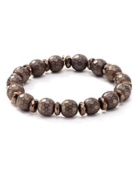 Bourbon And Boweties Faceted Stretch Bracelet Brown