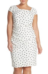 Plus Size Women's Adrianna Papell Polka Dot Crepe Sheath Dress