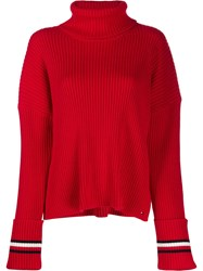 Tommy Hilfiger Ribbed Knit Sweater Red