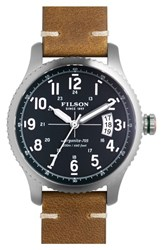 Men's Filson 'The Mackinaw Field' Leather Strap Watch 38Mm