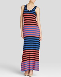 Red Haute Zip Front Stripe Maxi Dress Technicolor