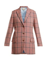 Gucci Houndstooth Wool Blend Blazer Red Multi