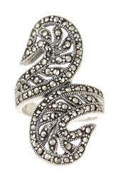 Savvy Cie Sterling Silver Pave Marcasite Leaf Crossover Ring Black