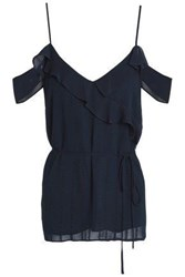 Charli Nia Cold Shoulder Jacquard Top Midnight Blue