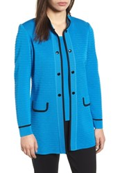 Ming Wang Textured Long Jacket Blue Creek Black