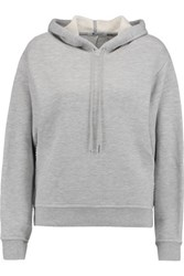 Alexander Wang T By French Cotton Blend Terry Hooded Sweatshirt Gray