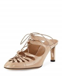The Row Dixie Cutout Patent Leather Lace Up Mule Beige