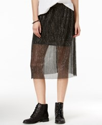 Shift Juniors' Sheer Metallic Pencil Skirt Black Silver