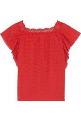 Vanessa Bruno Woman Lace Trimmed Ruffled Embroidered Cotton Gauze Top Red