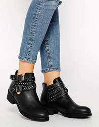 Pull And Bear Studded Leather Biker Boots Black