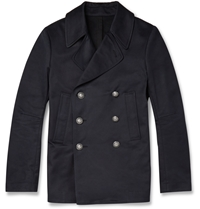 Balmain Leather Trimmed Cotton Peacoat Blue