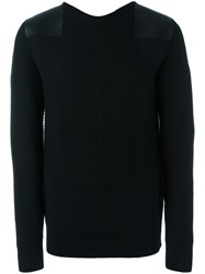 Oamc Leather Shoulder Pad Jumper Black