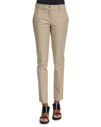 Michael Kors Samantha Mid Rise Twill Ankle Pants Sand Brown Women's
