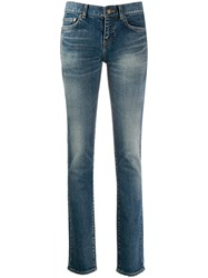 Saint Laurent Low Rise Skinny Jeans Blue