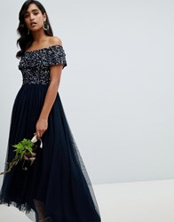 Maya Bardot High Low Maxi Dress In Navy