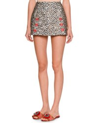 Dolce And Gabbana Leopard Print Fil Coupe Mini Skirt Black White Black White