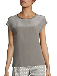 Peserico Silk Bead Pocket Blouse Dark Taupe
