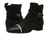 Just Cavalli Laminated Crackle Low Heel Ankle Bootie Black