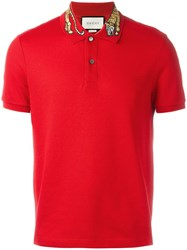 Gucci Tiger Embroidered Polo Shirt