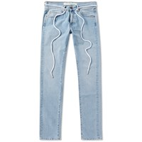 Off White Sprayed Diagonals Slim Fit Jean Blue