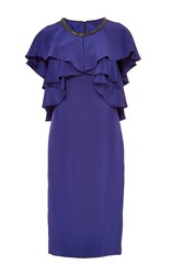Monique Lhuillier Short Sleeve Ruffle Dress Purple