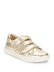 Kenneth Cole Grip Tape Leather Sneakers Soft Gold