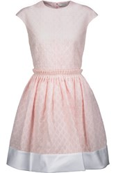 Carven Satin Trimmed Cotton Blend Seersucker Mini Dress Pastel Pink