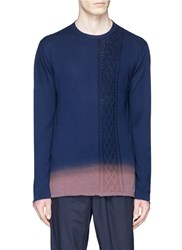 Johnundercover Ombre Effect Cable Knit Panel Sweater Blue