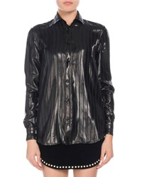Saint Laurent Button Front Long Sleeve Striped Lame Blouse Black