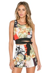 Clover Canyon Falling Leaves Crop Top Yellow