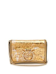 Christian Louboutin Rubylou Foil And Leather Clutch Gold