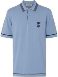 Burberry Monogram Motif Tipped Cotton Jersey Polo Shirt Blue