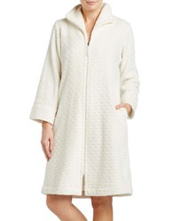 Oscar De La Renta Plush Short Zip Robe Natural