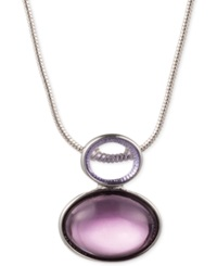 Jones New York Silver Tone Purple Bead Pendant Necklace