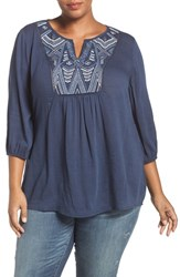 Caslonr Plus Size Women's Caslon Embroidered Peasant Top Navy Metallic Embroidery