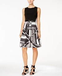 Tommy Hilfiger Belted Printed Fit And Flare Dress Black White