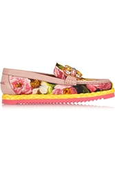 Dolce And Gabbana Embellished Floral Print Brocade Loafers