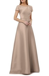 Kay Unger Embellished Sleeve Stretch Mikado Gown Champagne