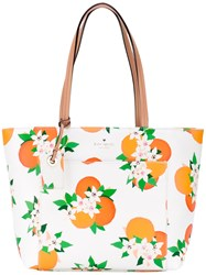 Kate Spade Floral Print Tote Women Leather One Size