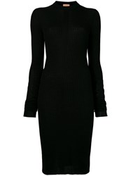 Nude Ribbed Knit Fitted Dress Black